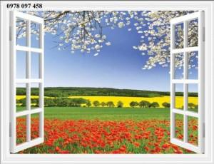 Tranh cửa sổ 3D - tranh gạch men