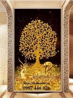 Tranh gạch men cây tiền vàng tài lộc HP143