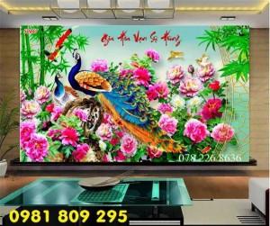 2020-10-28 15:55:15 Tranh gạch 3d hoa mẫu đơn - tranh gạch men chim công sứ ngọc 1,200,000