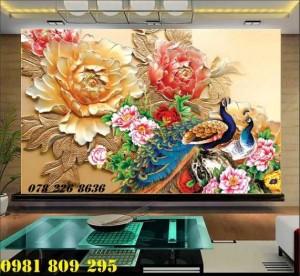 2020-10-28 15:55:15  3  Tranh gạch 3d hoa mẫu đơn - tranh gạch men chim công sứ ngọc 1,200,000