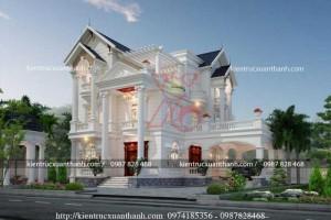 Thiết kế biệt thự 3 tầng trắng siêu đẹp BT18334