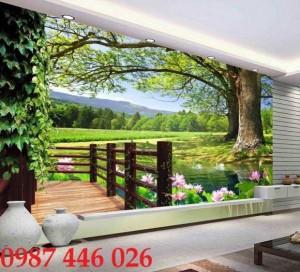 Tranh gạch men phong cảnh cây xanh HP1003
