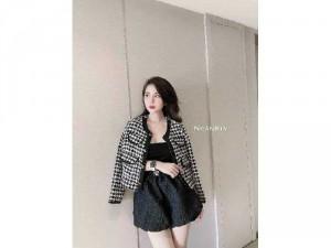 Áo khoác dạ nữ trắng đen phối màu siêuSC