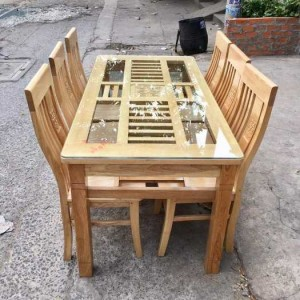 Bộ bàn ăn gỗ mặt kính cao cấp giá rẻ