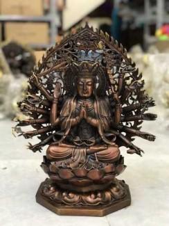 Phật chuẩn đề 43cm bằng đồng nguyên chất