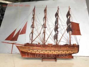 Mô hình thuyền buồm Jyland thuyền phong thủy thuận buồm xuôi gió gỗ hương