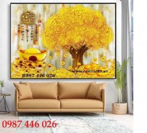 Tranh Gạch Cây Lộc Vàng, Tranh Ốp Tường Tài Lộc Hp722