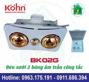 Sưởi Nhà Tắm 2 Bóng Âm Trần Kohn Bk02g