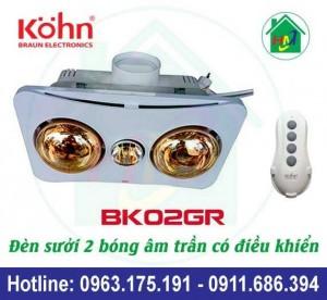 Đèn Sưởi Nhà Tắm Âm Trần Kohn Bk02gr Có Điều Khiển