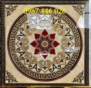 Gạch Chiếu Nghỉ Cầu Thang 80x80cm Khắc Vàng Hp7908