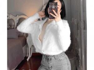 Áo len lông nữ có 3 màu trắng đen hồngSC