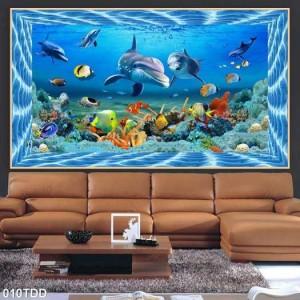 Tranh Gạch Men 5d Biển-cá Heo
