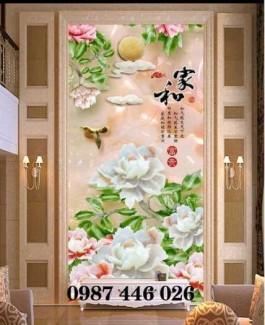 Tranh gạch men hoa mẫu đơn, tranh ốp tường 3d HP821