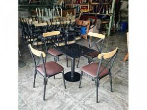 Bàn ghế quán ăn bàn ghế sắt gỗ ghế chữ X