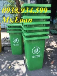 Thùng rác công cộng 120 lít màu xanh lá