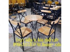 Thanh lý bàn ghế caffe sắt mặt gỗ