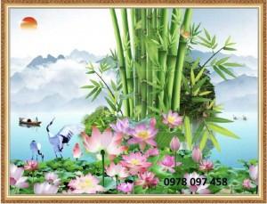 Hoa sen - tranh gạch men