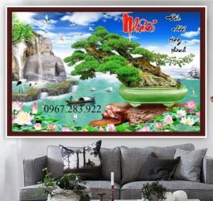 Tranh gạch trang trí hoạ tiết cây cảnh ốp tường