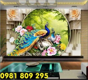 Tranh 3d dán tường - gạch 3d chim công