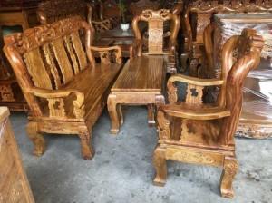 Bàn ghế sa lông gỗ gõ đỏ tay 10 chạm đào