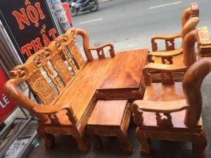 Salon gỗ  tay 12 gõ đỏ chạm đào