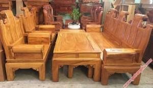 Bộ bàn ghế salon gỗ gõ đỏ Lào Á Âu