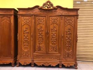 Tủ quần áo gỗ xịn 3 buồng 4 cánh 2.2m chạm giỏ hoa hồng cổ điển VIP – TQA212