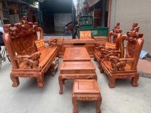 Bộ bàn ghế giả cổ nghê đỉnh gỗ hương đá