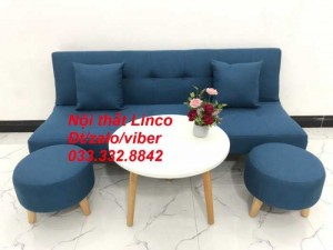 Bộ ghế sofa giường đa năng thông minh bật nằm nhỏ gọn sfg11 màu xanh dương da trời Nội thất Linco HCM Tphcm
