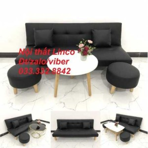 Bộ ghế sofa giường, sofa bed đa năng nhỏ gọn sfg05 simili giả da màu đen Nội thất Linco HCM Tphcm Gò Vấp Bình Thạnh Thủ Đức