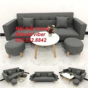 Combo bộ ghế sofa giường, sofa băng bật giường nằm phòng khách sfgtv04 xám lông chuột Nội thất Linco HCM Tphcm SG Sài gòn gò vấp