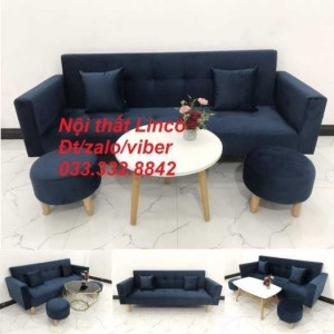 Set bộ ghế sofa giường 2 tay vịn, sofa băng văng dài 2m màu xanh dương đậm vải nhung Nội thất Linco HCM Sài Gòn Củ Chi, Hóc Môn, quận 12