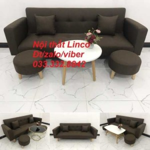 Bộ bàn ghế sofa giường, sofa băng dài 2m đa năng bật giường nằm sfgtv06 màu cafe đậm vải bố Nội thất Linco HCM, Tphcm, Sài Gòn, Sg quận Gò Vấp, quận 7, 8