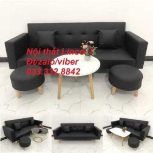 Set ghế sofa giường 2 tay vịn, sofa băng đa năng 2m simili giả da đen Nội thất Linco HCM quận Phú Nhuận, Tân Bình, 6