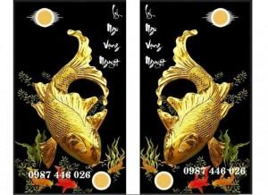 Trạnh cá chép vàng, gạch tranh 3d trang trí HP922
