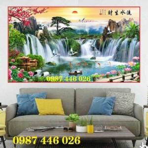 Tranh gạch men sơn thủy hữu tình, tranh 3d, tranh ốp tường HP722