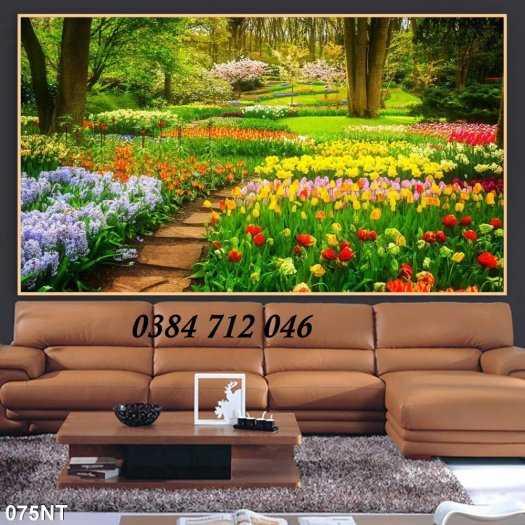 Gạch tranh phong cảnh- tranh vườn hoa