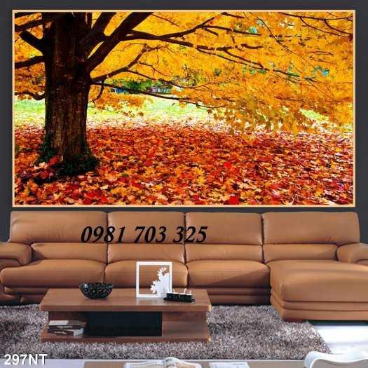 Tranh gạch phong cảnh- tranh cảnh mùa thu lá vàng