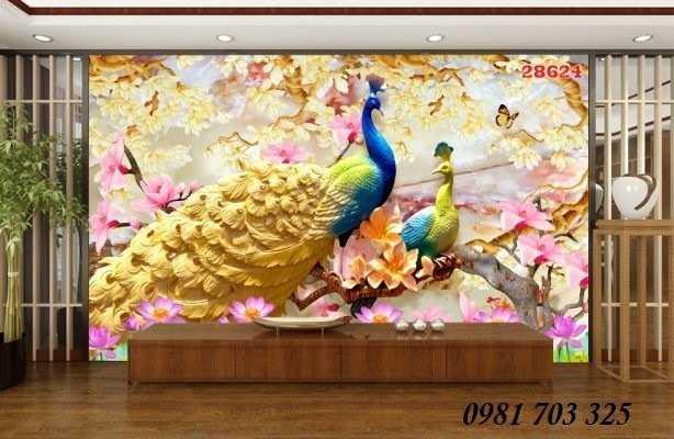 Tranh gạch- gạch tranh chim công