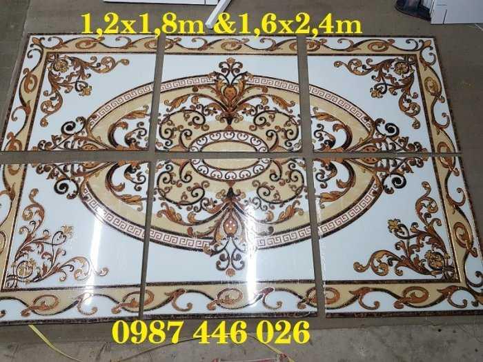 Thảm gạch phòng khách hoa văn khắc vàng HP7322