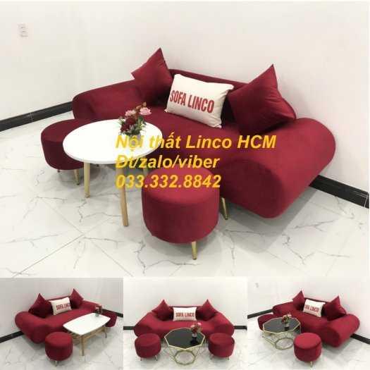 Bộ bàn ghế Sofa thuyền băng dài SFBg07 đỏ vải nhung Nội thất Linco Tphcm Sài Gòn HCM SG quận gò vấp, bình thạnh, thủ đức