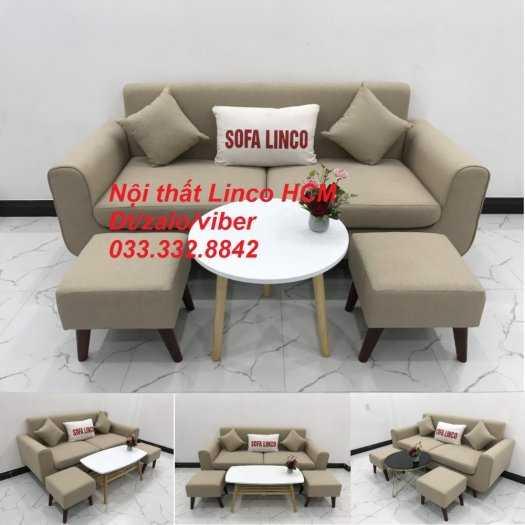 Bộ bàn ghế Sofa băng SFBg01 trắng kem giá rẻ Nội thất Linco Tphcm Sài Gòn quận 1 3 5 7 9 11 gò vấp