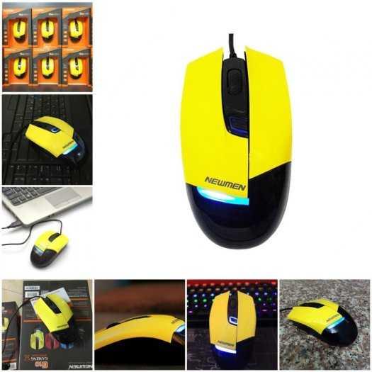 Mouse Newmen G10+ vàng Led xanh Gaming chính hãng