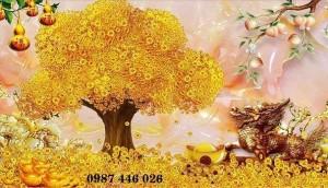 Tranh cây tiền vàng, gạch trang trí phòng khách HP9222
