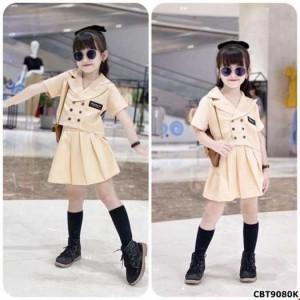 Sét áo kiểu vest đính cúc và quần giả váy xếp ly cho bé gái