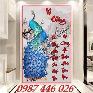 2020-11-30 09:00:33  8  Tranh gạch chim công, tranh ốp tường, gạch trang trí HP489 1,200,000