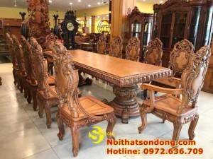 2020-11-30 13:25:05  13  Bộ Bàn Ăn Cổ Điển Bàn Nguyên Tấm Siêu VIP | Đẳng Cấp Gian Bếp Việt. 350,000,000