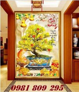 Tranh 3d hoa mai cát tường - gạch tranh