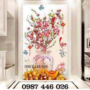 Tranh hoa đào, gạch tranh bình hoa đào 3d, tranh ốp tường, tranh trang trí HP522