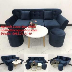 Bộ ghế sofa băng BgTC01 xanh dương đậm vải nhung